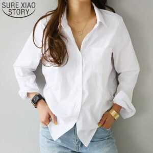 2019 Feminine Blouse Top Long Sleeve Casual White Turn-down Collar