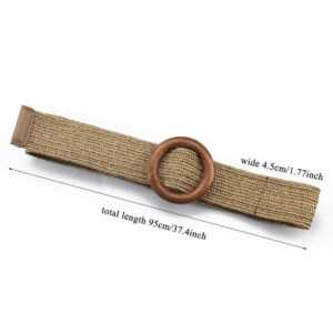 Braided Round Wooden Smooth Buckle Wide Belts For Women