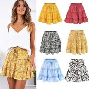 2019 Floral Printed A-line Cotton Ruffles Pleated Skirts