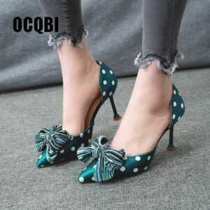 Cotton Fabric Polka Dots High Heels Stiletto