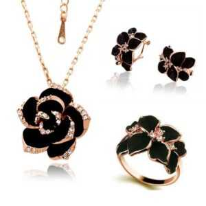 Fashion Rose Flower Enamel Jewelry Set