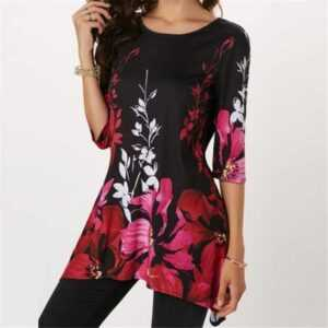 Floral Print Stretch Loose Long Blouse