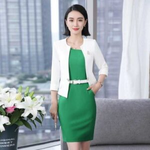 2 Piece Set Ladies Office Wear Dress