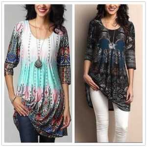 Casual O-Neck Print Loose A-Line Long T Shirt Dress