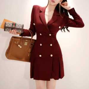 Elegant Blazer Long Sleeve Jacket Female Ladies Office Wear Double Breasted Dresses