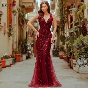 Burgundy V-Neck Mermaid Sequined Formal Evening Dresses