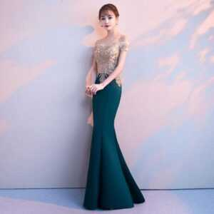 Boat Neck Embroidery Sequin Off The Shoulder Elegant Formal Gowns