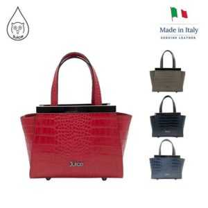 Genuine Leather Ladies Handbag With Croc-Print Leather Strap