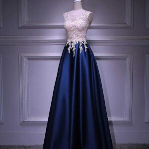 Elegant A Line  Beadings Crystal Bodice Zipper Back Long Evening Dress