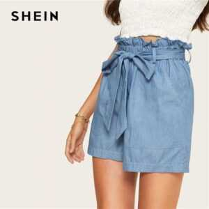 Casual Blue Paperbag Waist Twin Pocket Patched Belted Denim Shorts