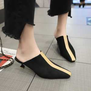 New Style Square Head Middle Heels Outer Wear Half Slippers