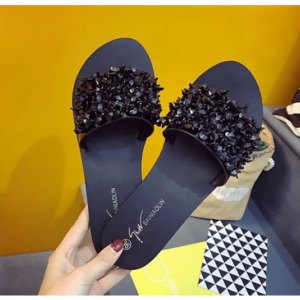 New Flat Bottom Fashion Rhinestone Comfortable Women Slippers