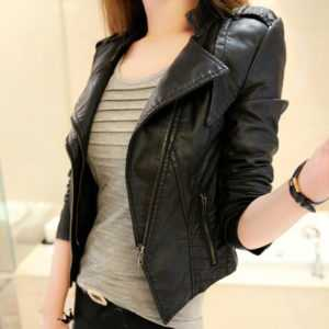 Women Long Sleeve Slim Short PU Faux Leather Jacket