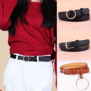 PU Leather Round Metal Pin Buckle Circle Belts For Women