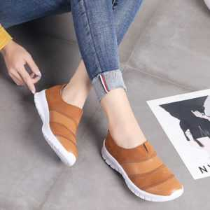 Genuine Leather Casual Slip-on Ladies Sneakers