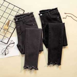 Black Stretch Skinny Denim Pants For Women