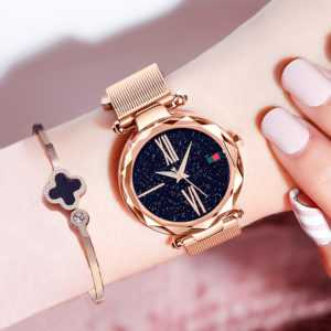 Luxury Rose Gold Minimalism Starry Sky Magnet Buckle Fashion Casual Female Waterproof Wristwatch