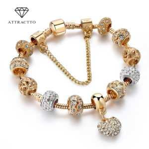Luxury Crystal Heart Charm Gold Bracelets and Bangles For Women