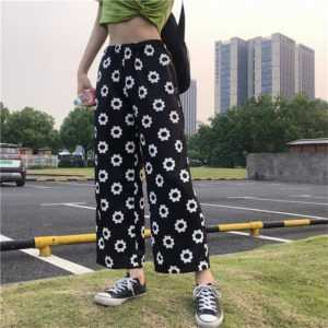 Women's Casual Flower Loose Straight Pants
