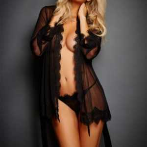 Women's Lace-Trim Robe and Panties Set