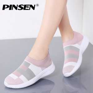 New Fashion Breathable Mesh Slip-on Flat Sneakers for Women