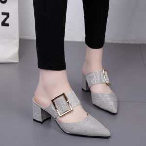 Belt Buckle Pointed Slippers