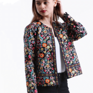 Multicolor Collarless Single Breasted Elegant Jacket For Women