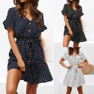 Casual Polka-dot High-rise Strap V-neck Chiffon Ladies Dress