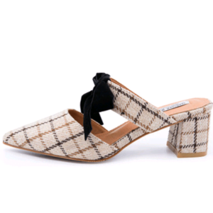 New Plaid Fabric Bow Bow Pointed Toe Half Drag Low Heel Women's Slippers Shoes