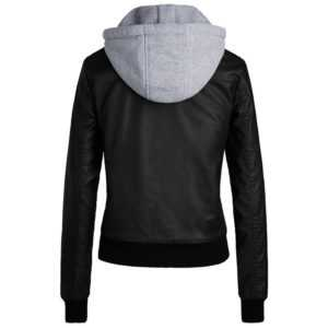 Cotton Hooded Ladies PU Leather Jacket