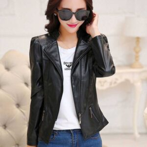 Ladies Short Oblique PU Leather Zipper Jacket