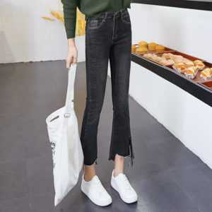 Flared Creative Fashion Split Ribbon Jeans Female