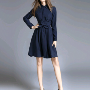 Large Size Women's New Lapels Five-point Sleeves Slim Slimming Bow Shirt Dress