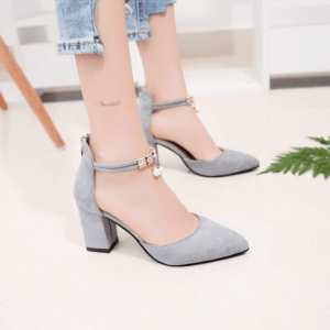 Workplace High Heels Thick With Buckle Rhinestone Pointed Shallow Mouth Women's Shoes