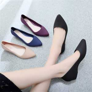 Pointed Toe Pumps Mid Heels Slip On Female Wedge Shoes