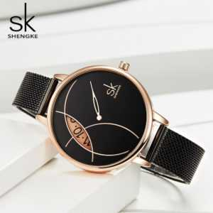 Rose Gold Black Steel Ladies Luxury Quartz Waterproof Wristwatch