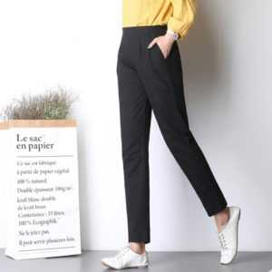 Breathable Womens Casual Plus Size Thin Linen Elastic Slim Pants