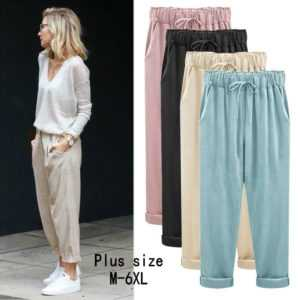 Casual Spring Summer Loose Cotton Linen Overalls Pants