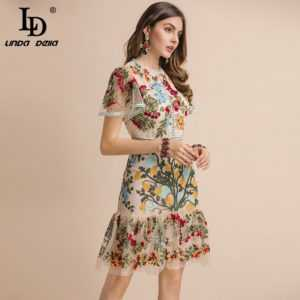 Women's Flare Sleeve Floral Embroidery Elegant Mesh Hollow Out Midi Dresses