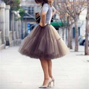 5 Layers 60cm Tutu Tulle Skirt Vintage Midi Pleated Skirts