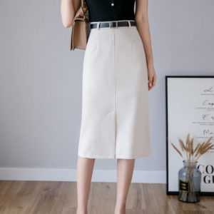 Solid A-Line Midi Skirts