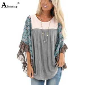 O Neck Loose Half-Sleeve Print Splice Women's Sweaters Pullovers