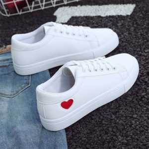 Breathable PU Leather Casual White Sneakers