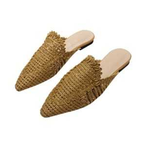 New Style Women Rattan Knit Casual Pointed Toe Flat Slippers