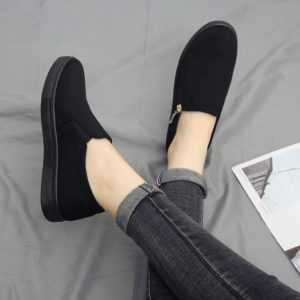Casual Thick Bottom Flat Breathable Women Canvas Sneakers With Zippers