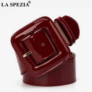 Genuine Leather Cowhide Fashion Big Buckle Square Belt For Dresses