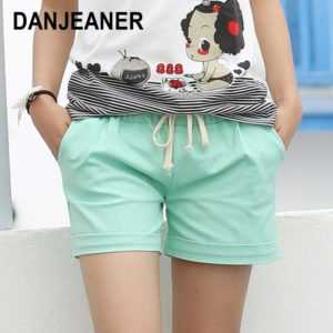Candy Color Elastic With Belt Short for Women