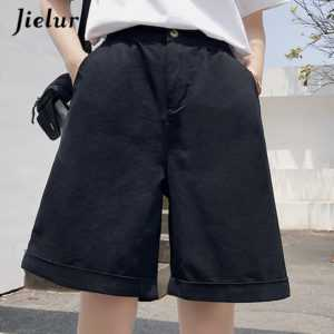 High Waist Wide Leg Khaki Black Fashion Loose Pockets Shorts