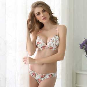 Women's Push Up Lingerie Set With Floral Print