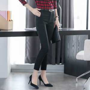 Casual Elastic Cotton High Waist Office Female Pants